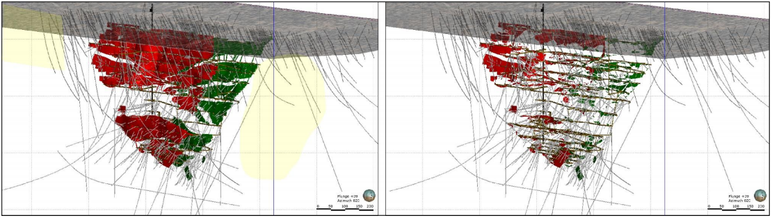 Nickel Sulphide Mineralisation map of Sill 2 and 3